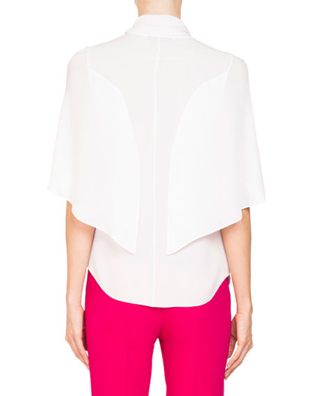 Short Cape Sleeve Silk Georgette Blouse
