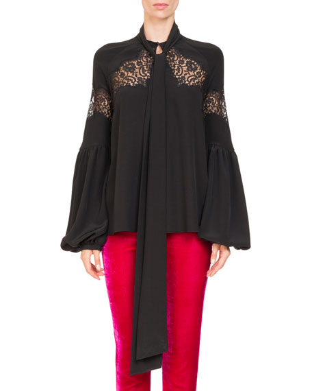 ec642a445870b Givenchy Blouson-Sleeve Silk Georgette Blouse w  Lace Insets