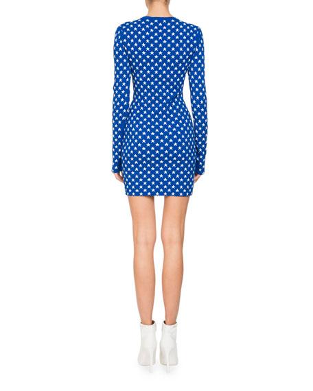 Crewneck Long-Sleeve Star Jacquard Fitted Mini Dress