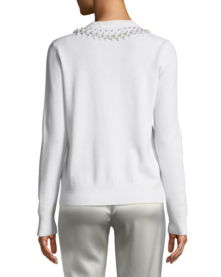 Pearly Beaded Crewneck Sweater
