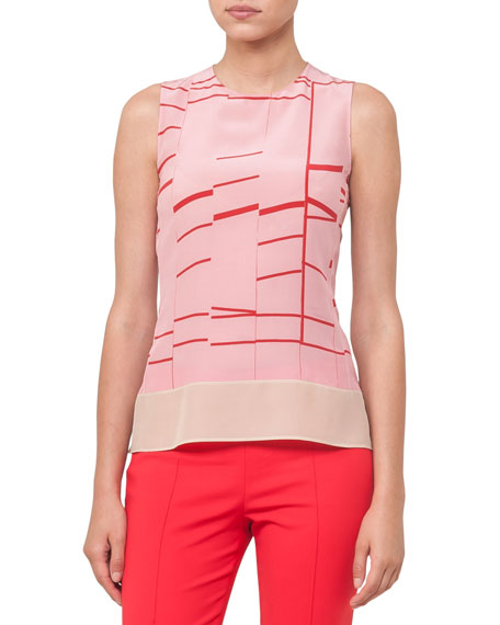 Sleeveless Broken Stripes Blouse