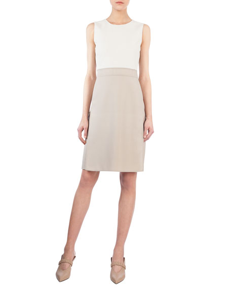 Sleeveless Bicolor Sheath Dress