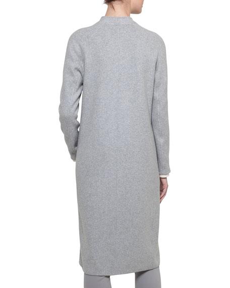 Open-Front Reversible Silk Jersey Long Coat
