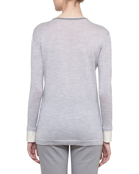 Long-Sleeve Wool-Silk Pullover Knit Sweater
