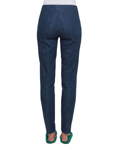 Melissa Side-Zip Slim-Leg Stretch-Denim Pants