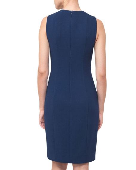 V-Neck Sleeveless Wool-Crepe Sheath Dress