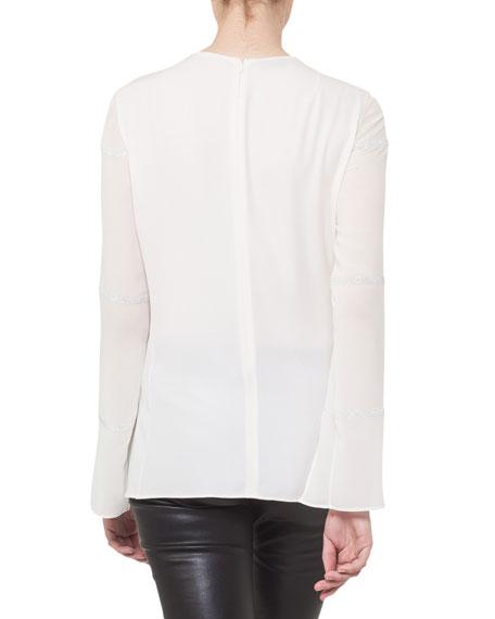 Round-Neck Pleated Embellished Chiffon Tunic Blouse