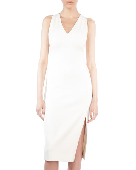 Sleeveless V-Neck Silk Shantung Dress