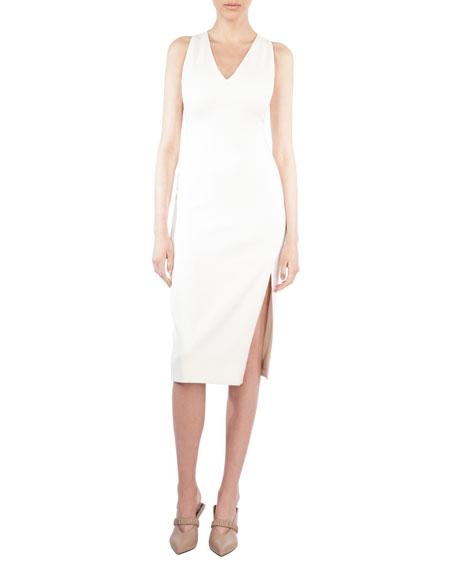 Sleeveless V-Neck Silk Shantung Dress