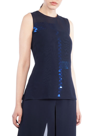 Round-Neck Sleeveless Sequin Embellished Organza Blouse