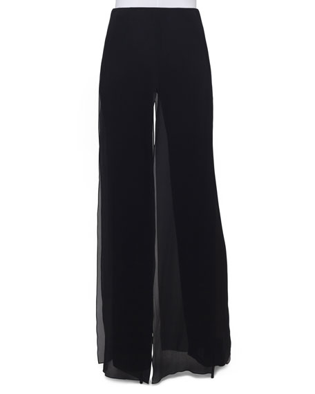 Double-Layer Georgette Wide-Leg Pants