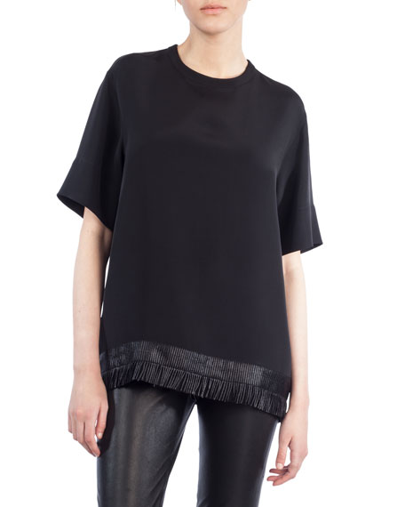 Crewneck Elbow-Sleeve Silk Blouse w/ Fringe Hem