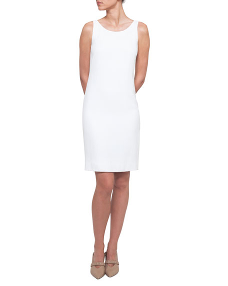 Round-Neck Sleeveless Crepe Sheath Dress