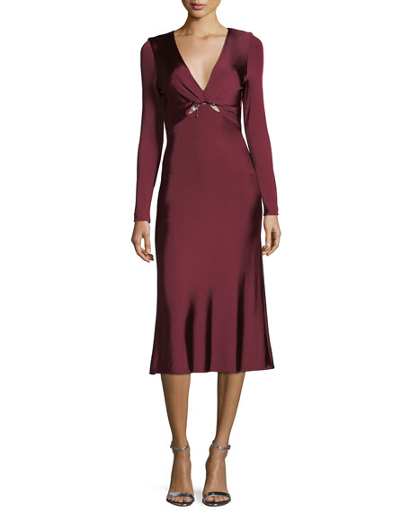 CUSHNIE Magdelena V-Neck Long-Sleeve Fitted Glossy Midi Cocktail