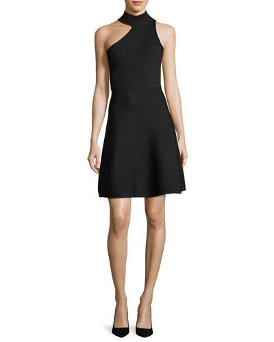 One-Shoulder Mock-Neck Minidress