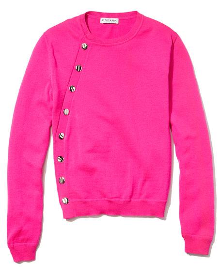 Minamoto Button-Side Crewneck Sweater