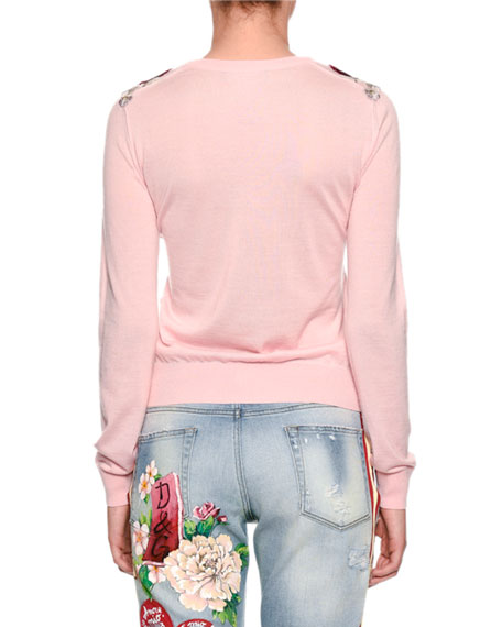 Crewneck Cashmere Sweater with Floral Appliques