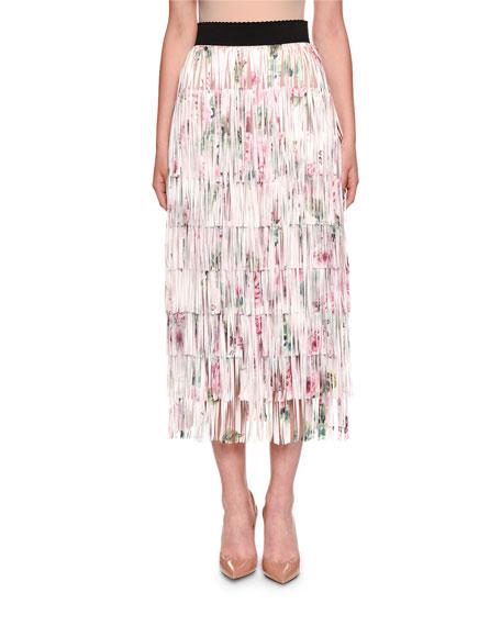 Fringed Rose-Print A-line Tea-Length Skirt