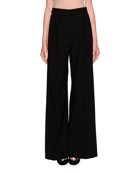 Wide Leg Side Stripe Wool Pants by Dolce & Gabbana