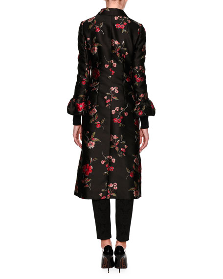 Rose Jacquard Jewel-Button Coat