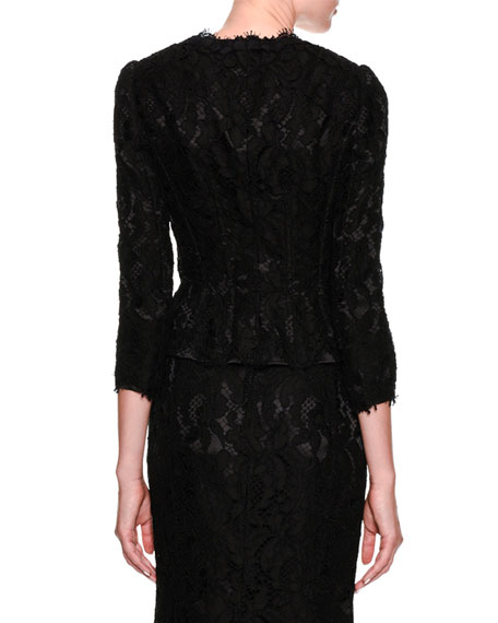 3/4-Sleeve Lace Jacket