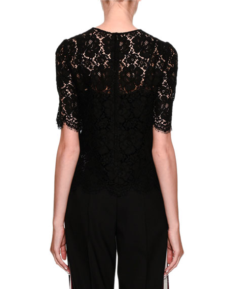 Short-Sleeve Lace Blouse with Heart Applique
