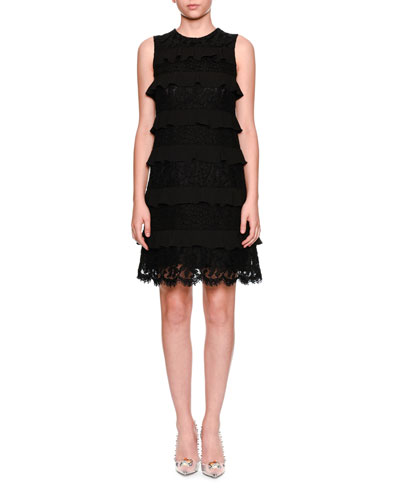 Sleeveless Tiered Lace Cocktail Shift Dress