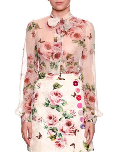 Floral-Print Chiffon Tie-Neck Blouse