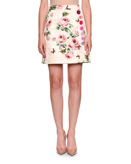 Floral Brocade Button-Trim Skirt