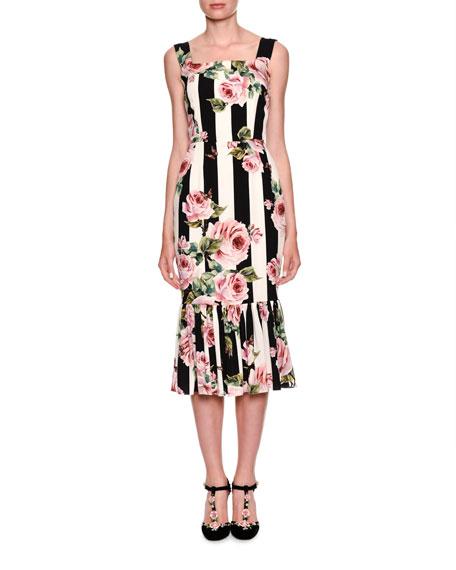 Sleeveless Floral-Striped Midi Dress