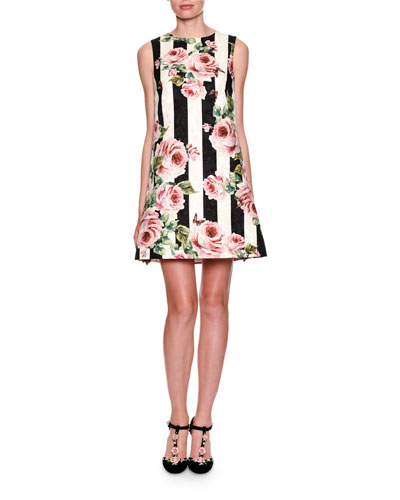 Sleeveless Floral Striped Brocade Dress