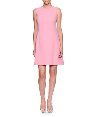 Sleeveless Wool Crepe Shift Dress