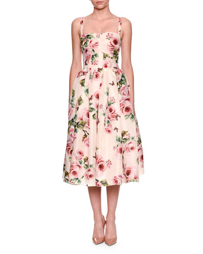 Sleeveless Rose-Print Organza Cocktail Dress