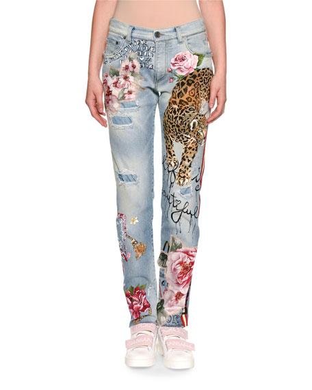 Leopard-Painted Denim Jeans