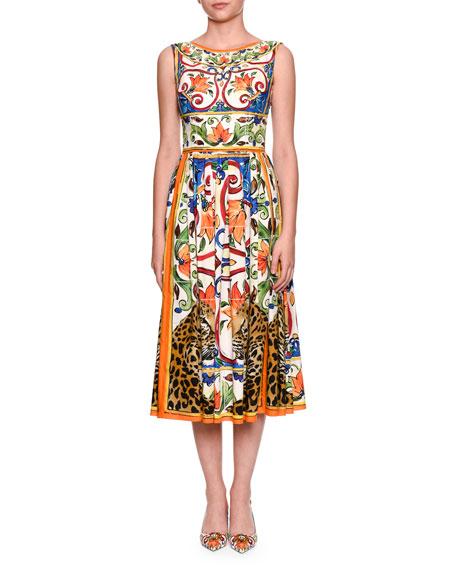 Maiolica Tile-Print Boat-Neck Midi Dress