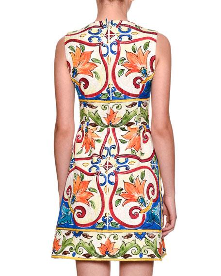 Maiolica Tile-Print A-Line Dress