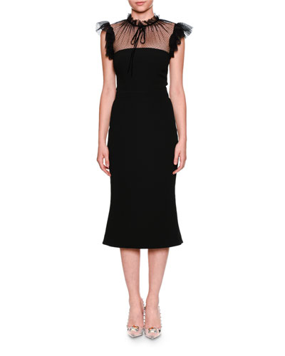 Tulle Tie-Neck Cady Cocktail Midi Dress