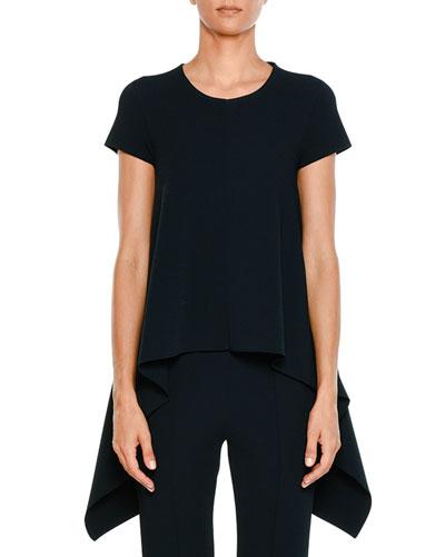 Crewneck Short-Sleeve Flange-Side Knit Top
