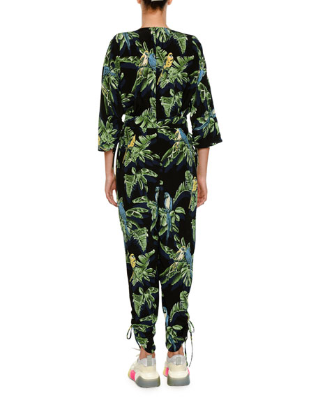 Birds Of Paradise V-Neck Drawstring-Hem Jumpsuit