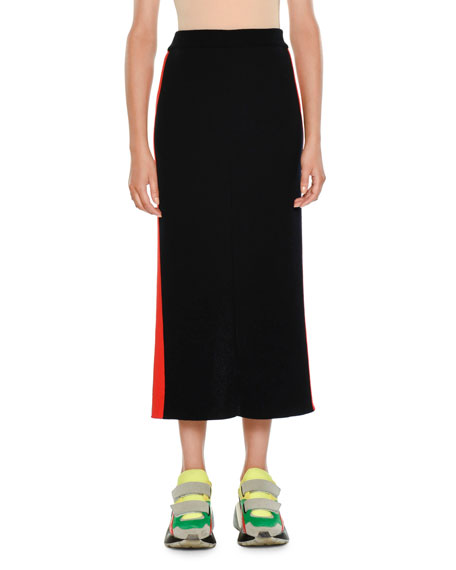 Slim A-Line Midi Skirt w/ Racer Stripe