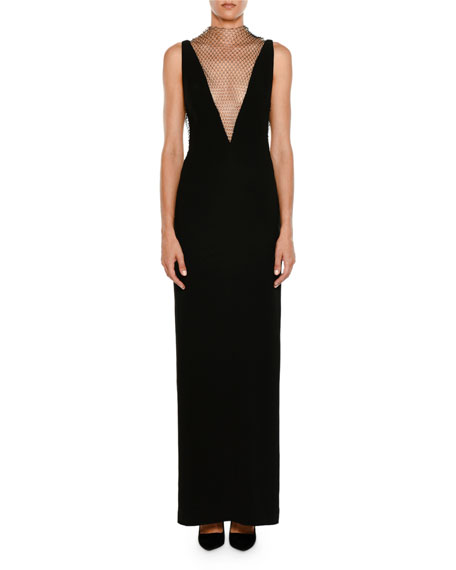52de791a3f308 Stella McCartney Plunging Sleeveless Crepe Evening Gown w/ Rhinestone  Netting