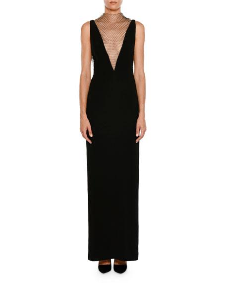 Plunging Sleeveless Crepe Evening Gown w/ Rhinestone Netting