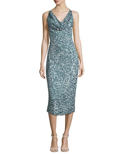 Sequined Cowl-Neck Midi Dress