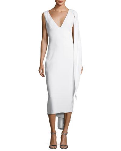 Draped Stretch-Cady Sheath Dress