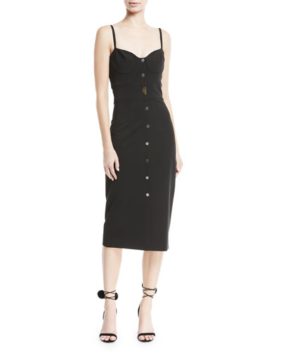 Spaghetti-Strap Button-Front Midi Dress with Seam Detail