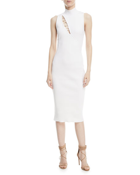 Mock-Neck Sleeveless Dress with Ring Details