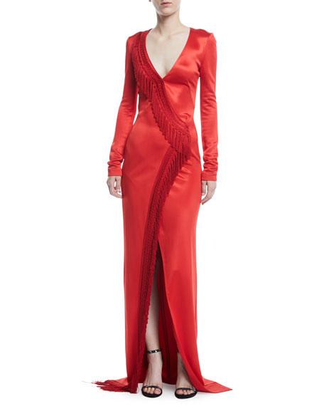 V-Neck Long-Sleeve Fringe Detail Gown