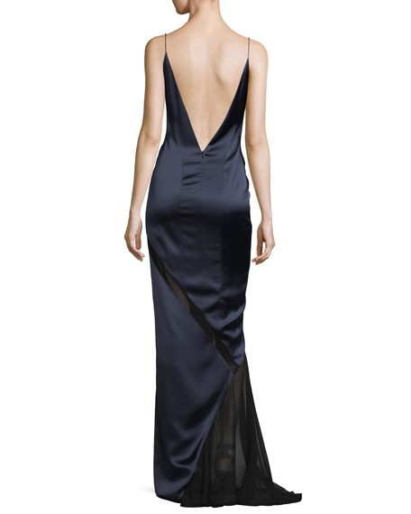 Satin Open-Back Cami Gown