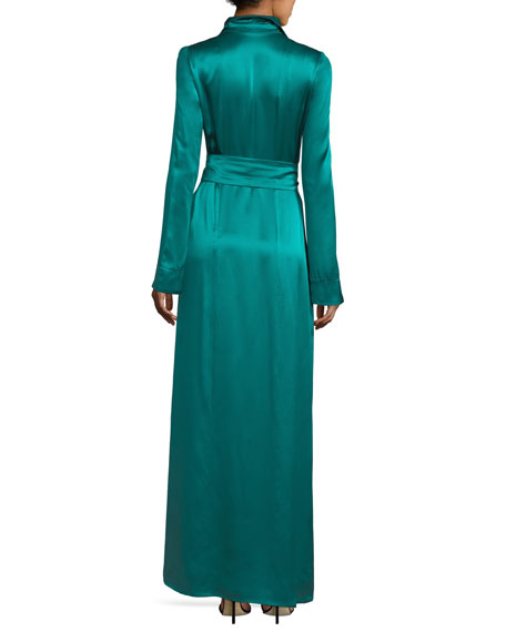 Satin Tie-Waist Shirt Gown