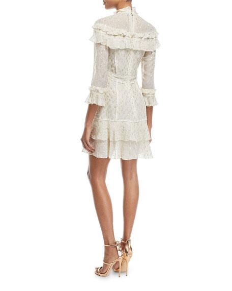 Metallic-Print Ruffle Mid-Length Dress
